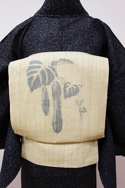 WEB限定【K-5304】麻地 織名古屋帯 きゅうりの図