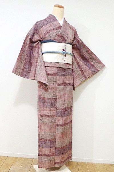 WEB限定【A-2481】↑Sサイズ↓単衣 紬 鴇浅葱色 変わり段