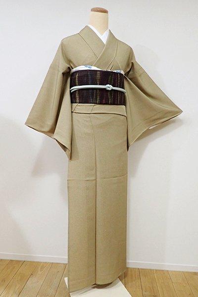 あおき【C-1390】単衣 繍一ッ紋 江戸小紋 榛色 鮫(落款入り・三越扱い)