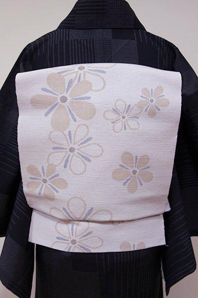 世田谷【K-5316】結城紬 はたおり娘 織八寸名古屋帯 桜鼠色 おおらかな花文(証紙付・新品)