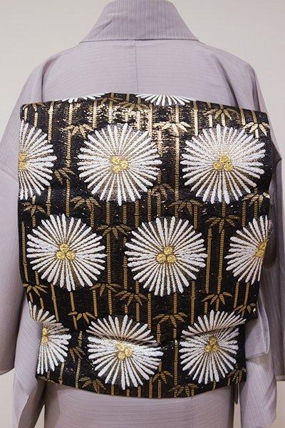 あおき【L-3738】西陣 河合美術織物製 絽 袋帯 黒色 松竹丸文(落款入・三越扱い)