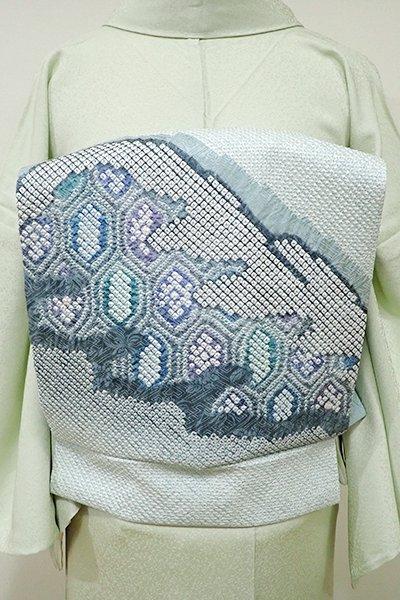 世田谷【K-5323】藤娘 きぬたや製 絞り染め 名古屋帯 浅縹色 遠山に亀甲