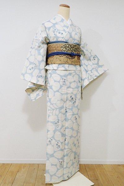 銀座【D-1974】絽紬 小紋 白練色×秘色色 萩の図
