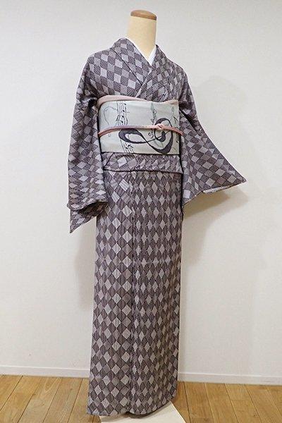 銀座【D-1975】単衣 小紋 深い似せ紫色 菱文(しつけ付)