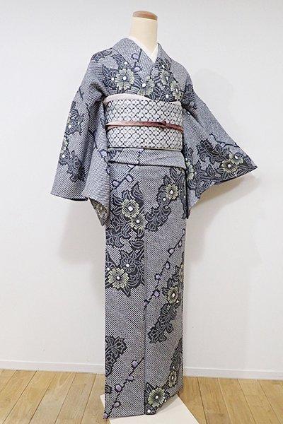 世田谷【D-1976】↑Sサイズ↓総絞り 小紋 錫色 花の図
