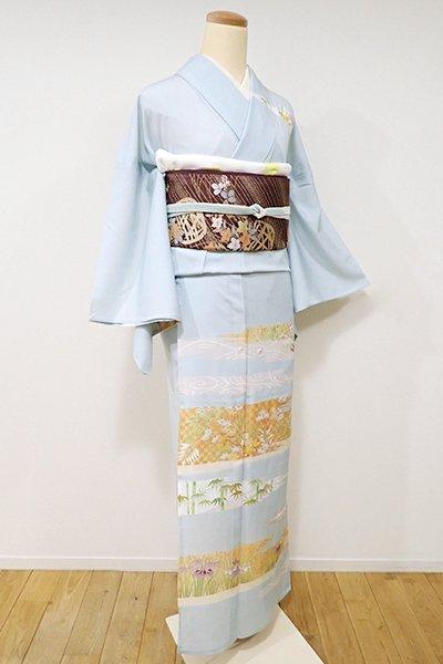 WEB限定【B-1899】絽 訪問着 白藍色 霞に四季花