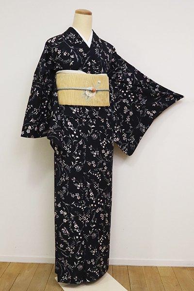 WEB限定【D-1977】変わり絽 小紋 黒色 秋草の図
