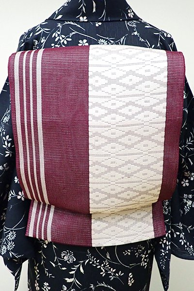WEB限定【L-3755】紗 洒落袋帯 葡萄色 縞に菱文