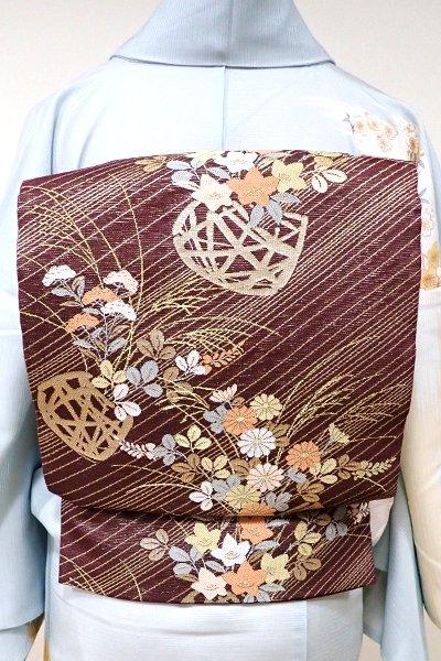 WEB限定【L-3756】紗 袋帯 紫鳶色 秋草の花籠