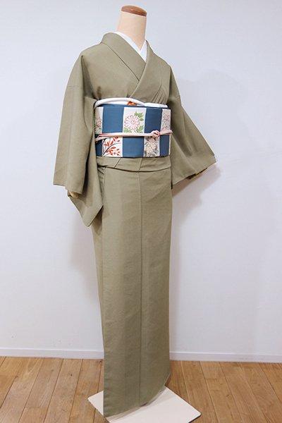WEB限定【C-1402】(S)きもの英 繍一ッ紋 江戸小紋 油色 木賊縞