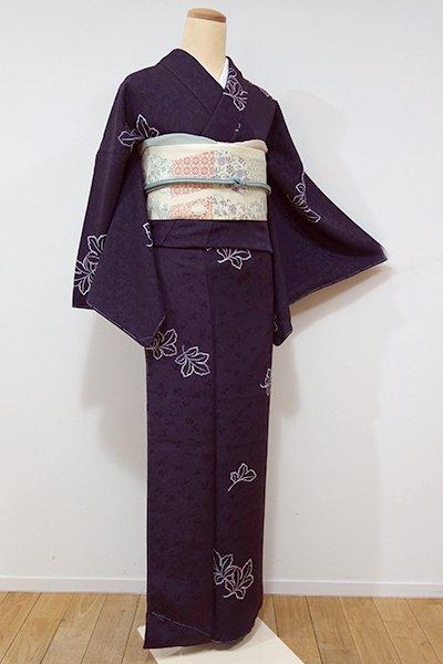 WEB限定【D-1979】←ユッタリ→小紋 滅紫色 菊の葉文