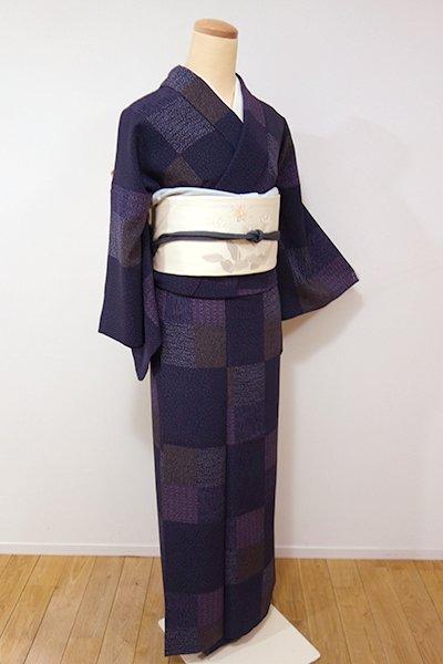 世田谷【D-1981】←ユッタリ→小紋 深紫色 市松に小紋柄寄せ