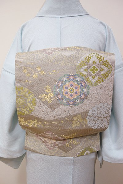 WEB限定【L-3767】袋帯 絹鼠色 波に有職文