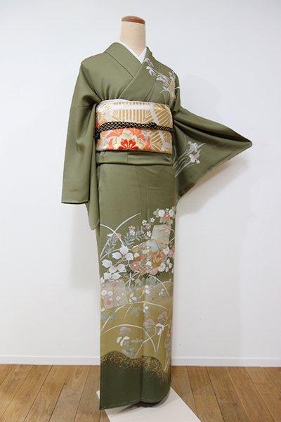 銀座【B-1903】トールサイズ 訪問着 黄海松茶色 四季花の図