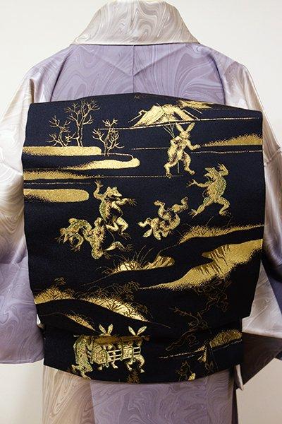 銀座【K-5350】織名古屋帯 黒色 鳥獣戯画図(新品)