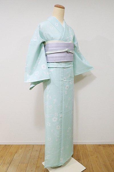 WEB限定【D-1985】↑Sサイズ↓絽 小紋 淡い青竹色 桜の図