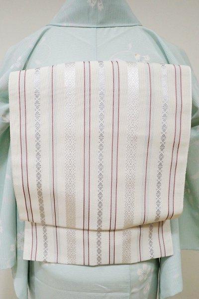 WEB限定【K-5354】本場筑前博多織 八寸名古屋帯 紗献上 白練色×白藍色×長春色(証紙付・新品)