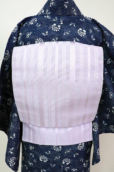 あおき【K-5355-2】本場筑前博多織 八寸名古屋帯 紗献上 白藤色(証紙付・新品)