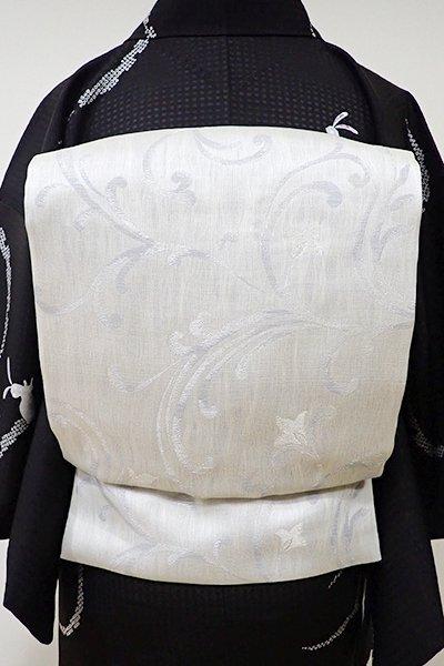 WEB限定【K-5358】織 開き名古屋帯 絹鼠色 唐草文 (長尺)
