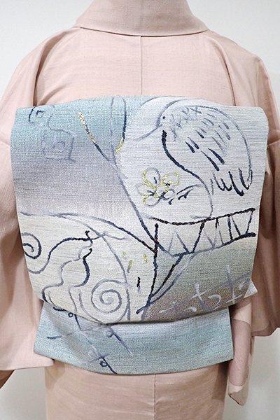 WEB限定【L-3777】西陣製 袋帯 薄鈍色×青磁鼠色 鷺や瓢箪の図(反端付)
