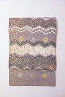 銀座【帯2688】白山工房製 牛首紬地 洒落袋帯 (落款入)