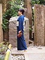 【着物2246】薩摩絣 濃藍色 幾何文 (しつけ付)