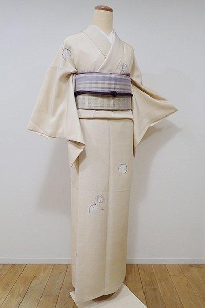 世田谷【D-1988】紬地 絞り小紋 浅黄色 辻が花文