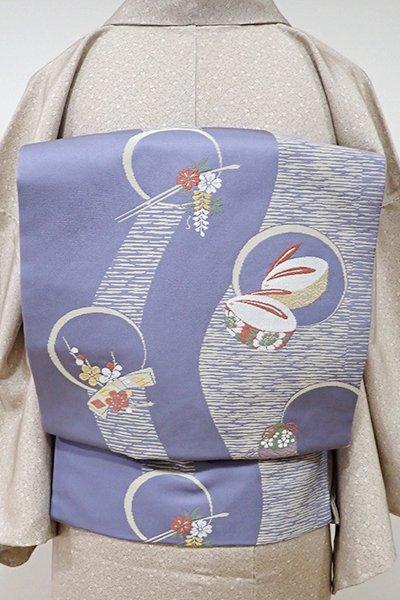 世田谷【K-5360】名古屋帯 藤鼠色 ぽっくりや簪の図