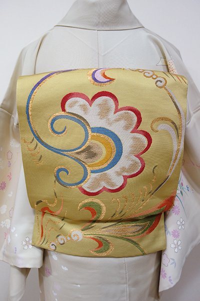 WEB限定【L-3791】袋帯 芥子色 忍冬華紋