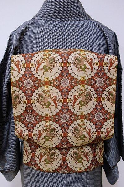 銀座【K-5371】西陣 龍村美術織物製 光波帯 紅鳶色 獅子狩文錦
