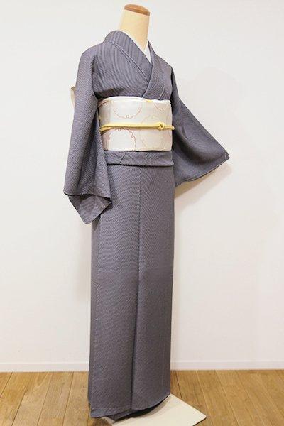 銀座【C-1412】(S)江戸小紋 灰色×黒色 鱗文(しつけ付・落款入)