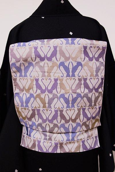 世田谷【K-5379】本場筑前博多織 紋織り 八寸名古屋帯 灰桜色 猫の横段(証紙付・新品)