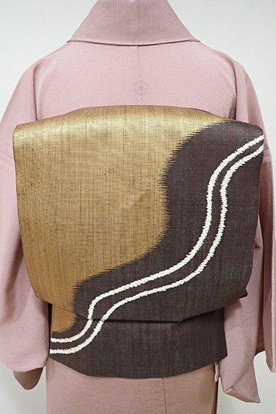 WEB限定【L-3819】紬地 洒落袋帯 黒鳶色×金色 抽象文
