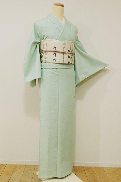 WEB限定【A-2522】→ホッソリ←単衣紬 錆青磁色 無地 (しつけ付)