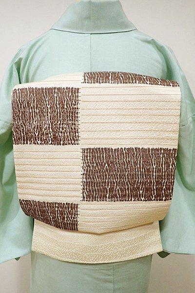 WEB限定【L-3828】洒落袋帯 蜂蜜色 市松文