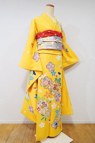 銀座【B-1926】振袖 鬱金色 桜や梅の図
