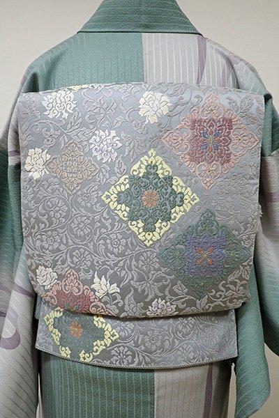 WEB限定【L-3829】袋帯 灰青色 牡丹唐草に菱文