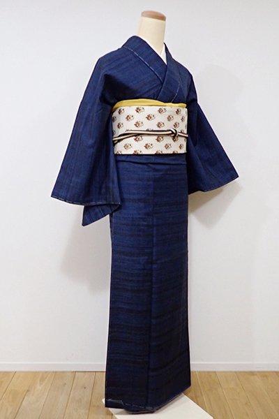 あおき【A-2527】↑Sサイズ↓紬 濃藍色×墨色 横縞(しつけ付)