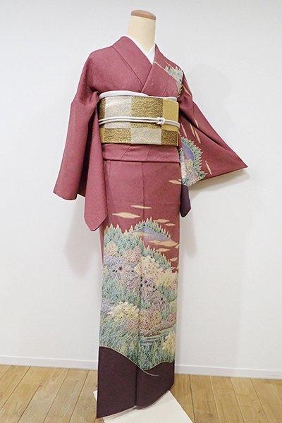 世田谷【B-1931】訪問着 蘇芳香色 山水の図