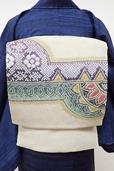 世田谷【K-5397】藤娘きぬたや製 絞り染め 名古屋帯 蜂蜜色 装飾文