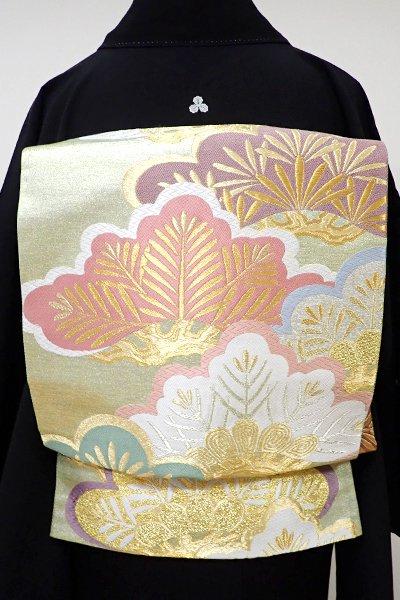 世田谷【L-3837】袋帯 金色 松の図