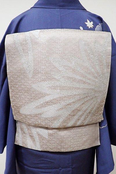 あおき【L-3839】西陣 加納幸製 袋帯 灰梅色 菊の図(落款入)