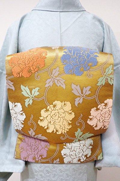 あおき【L-3841】西陣 織悦製 袋帯 深い金色 牡丹唐草文(落款入)
