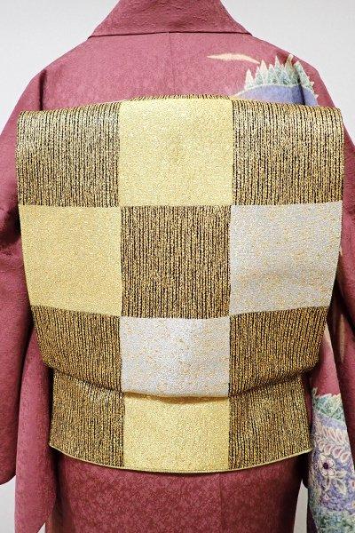 あおき【L-3845】袋帯 黒色×金色 市松文