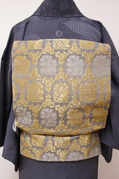 WEB限定【L-3849】西陣製 袋帯 薄墨色 横段に瓦燈金襴文(証紙付)
