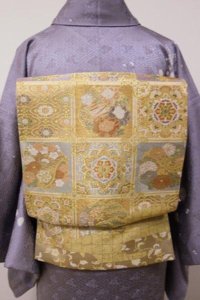 あおき【L-3854】袋帯 金色「市松花丸華文」