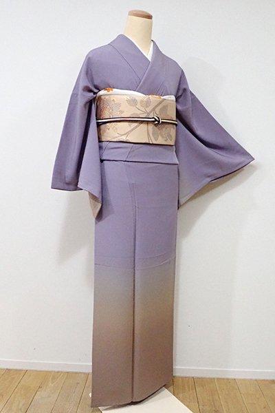 銀座【B-1935】↑Sサイズ↓繍一ッ紋 縮緬地 付下げ 半色×白橡色 裾暈かし