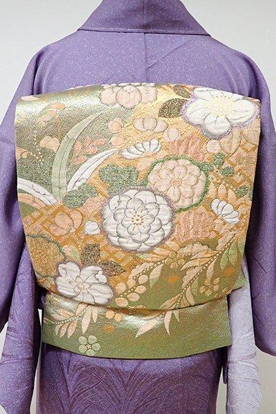 WEB限定【L-3862】ふくれ織り 袋帯 金色 辻が花調文様