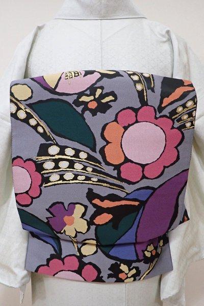 WEB限定【L-3864】西陣 じゅらく製 洒落袋帯 灰色 花の図(落款入)