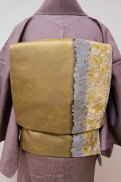 WEB限定【L-3867】西陣 加納幸製 袋帯 金色 宝尽くし文(落款入り)